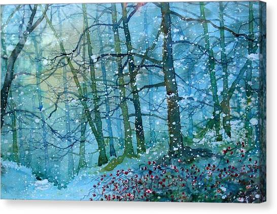 Blizzard In Broxa Forest Canvas Print