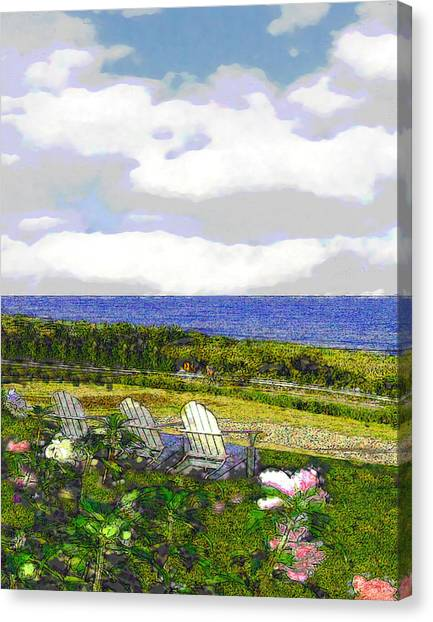 Block Island Sea Chairs Canvas Print