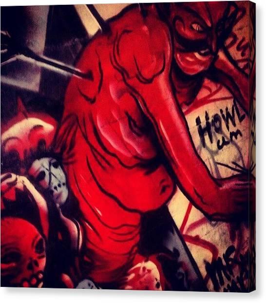 Satan Canvas Print - #blood #death #satan #coffin #graffiti by Sean Cannon