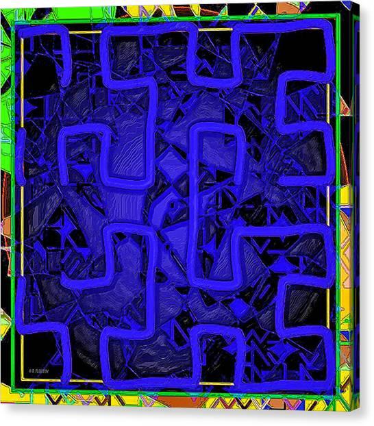 Canvas Print featuring the digital art Blu Maze by Dee Flouton