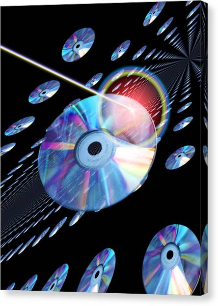 Blu-ray Discs Canvas Print by Victor Habbick Visions