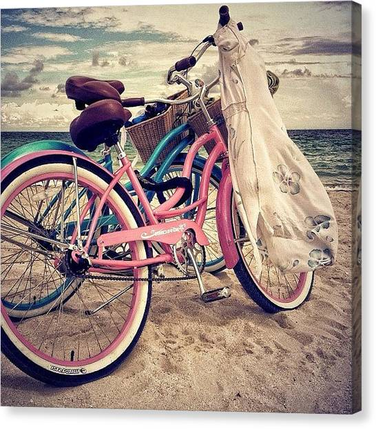 Bicycle Canvas Print - Blue & Pink - Miami Beach by Joel Lopez