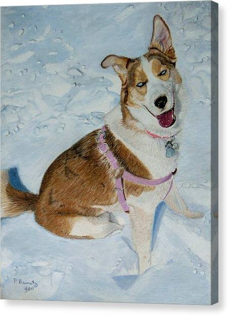 Blue - Siberian Husky Dog Painting Canvas Print