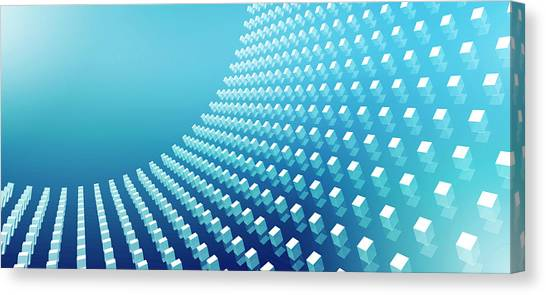 Blue Abstract Cubes In A Curve Canvas Print