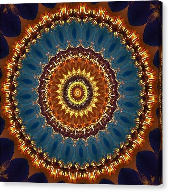 Mandala Canvas Print - #blue And #orange #fractalart On by Pixie Copley