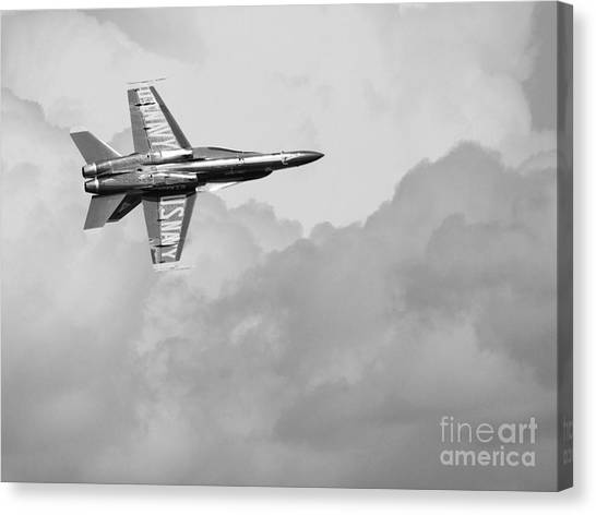 Blue Angels In The Cloud . Black And White Photograph Canvas Print by Wingsdomain Art and Photography