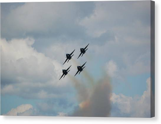 Blue Angels Roaring By Canvas Print