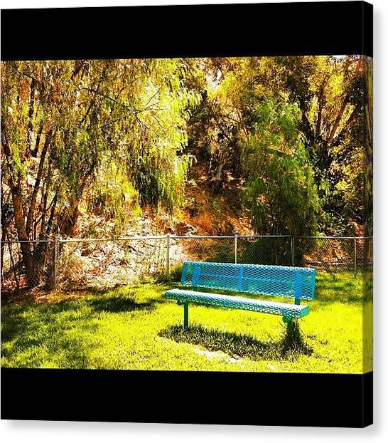 Meditation Canvas Print - Blue Bench At Park by Melanie Kartawinata