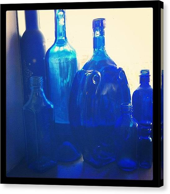 Art Deco Canvas Print - Blue Bottles by Hope Trunfio