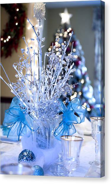 Blue Christmas Canvas Print by Trudy Wilkerson
