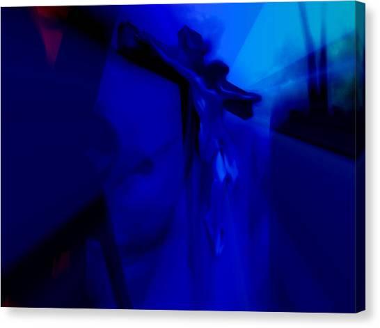 Blue Crucifixion Canvas Print