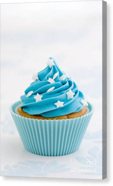 Blue Cupcake Canvas Print by Ruth Black