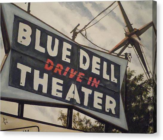 Blue Dell Drive In Theater Canvas Print
