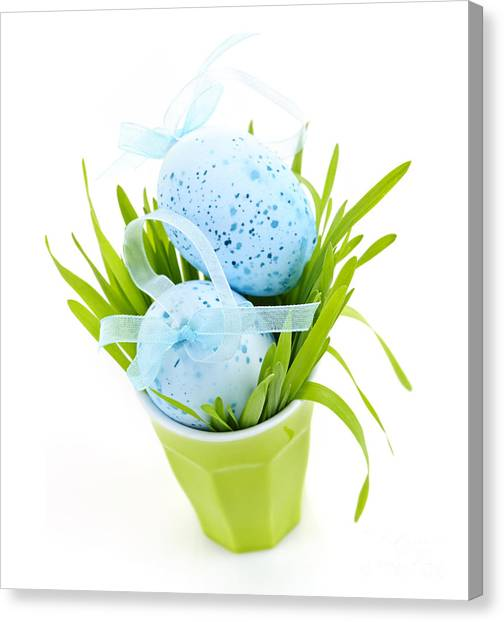 Easter Eggs Canvas Print - Blue Easter Eggs And Green Grass by Elena Elisseeva