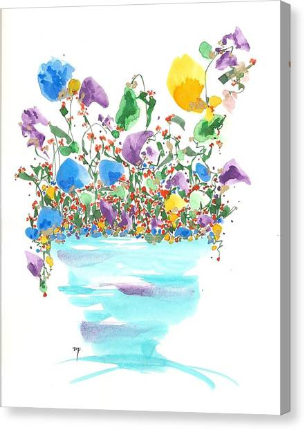Blue Flowers And Vase Canvas Print