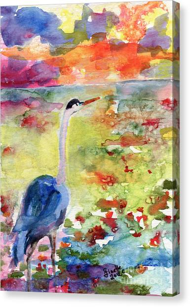 Okefenokee Canvas Print - Blue Heron Sunset Watercolor By Ginette by Ginette Callaway