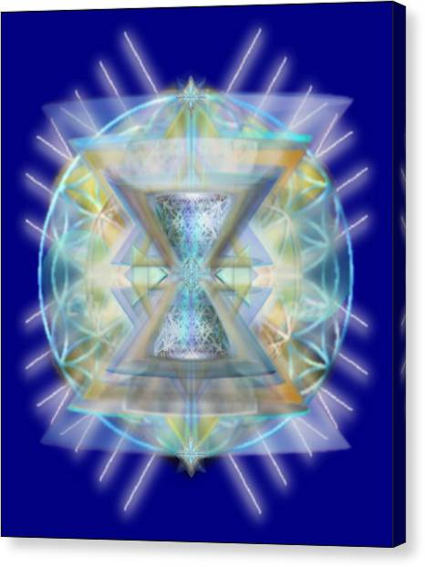Blue High-starred Chalices On Flower Of Life Canvas Print