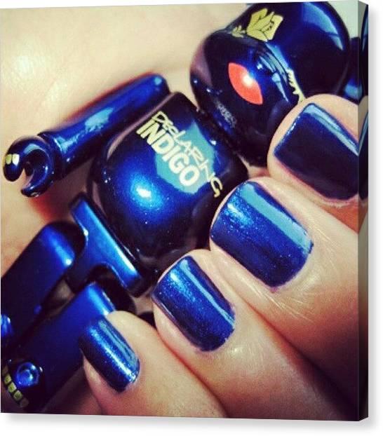 Bears Canvas Print - #blue #indigo #cute #littke #toy #bear by Mimi J
