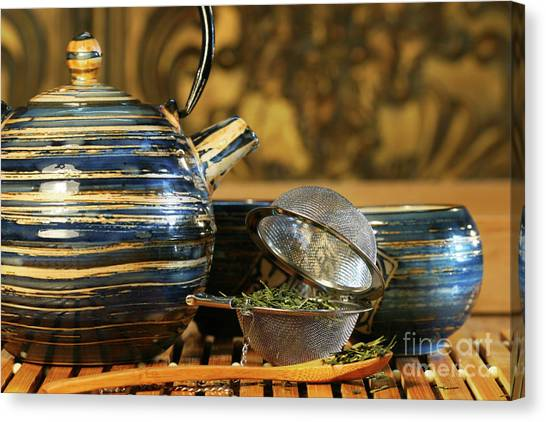 Sweet Tea Canvas Print - Blue Japanese Teapot by Sandra Cunningham