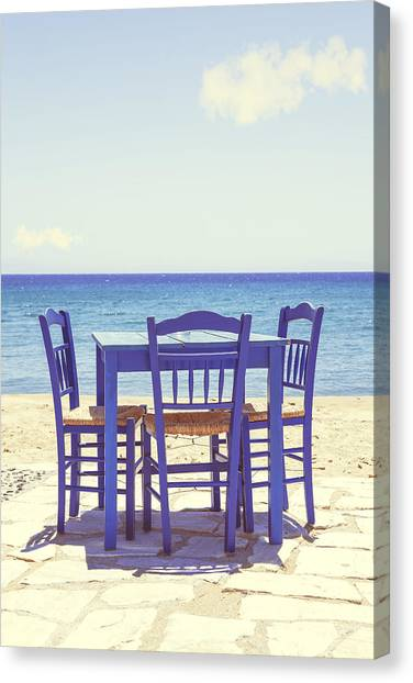 Chairs Canvas Print - Blue by Joana Kruse