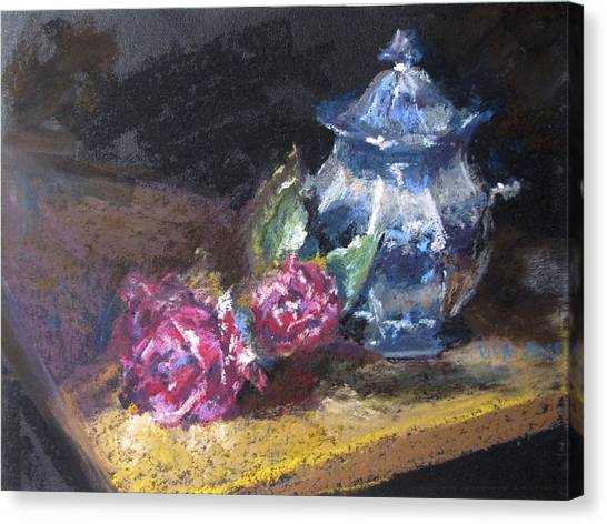 Blue Jug With Roses Canvas Print