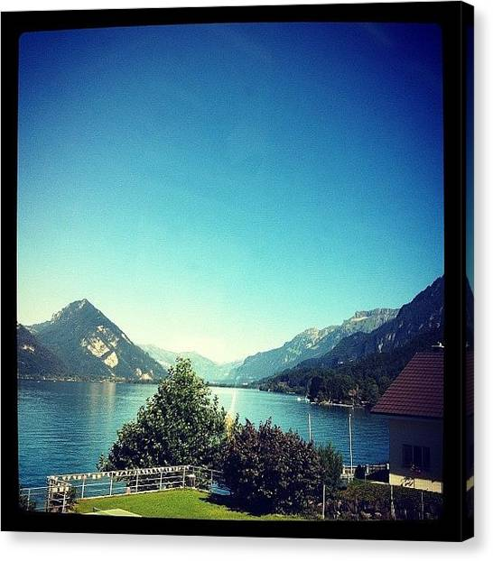 Swiss Canvas Print - Blue Lake And Mountain Range by Jyothi Joshi
