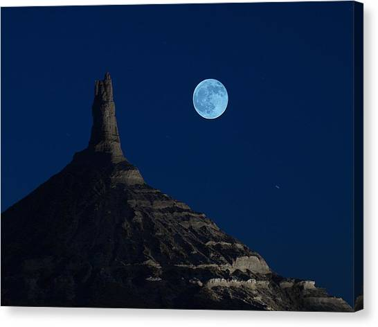 Blue Moon Over Chimney Rock Canvas Print