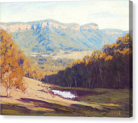 Mountain Valley Canvas Print - Blue Mountains Paintings by Graham Gercken