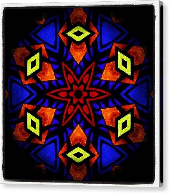 Mandala Canvas Print - Blue Orange Yellow And Red #meditating by Pixie Copley