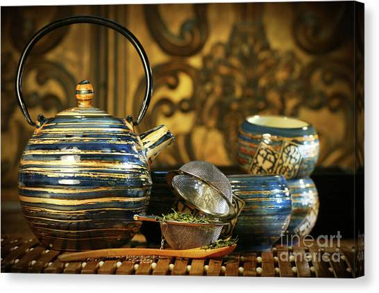 Sweet Tea Canvas Print - Blue Oriental Teapot With Cups  by Sandra Cunningham