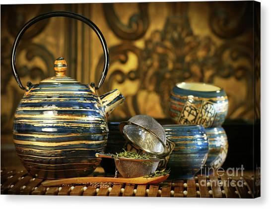 Sweet Tea Canvas Print - Blue Oriental Teapot With Cups  by Sandra Cunningham
