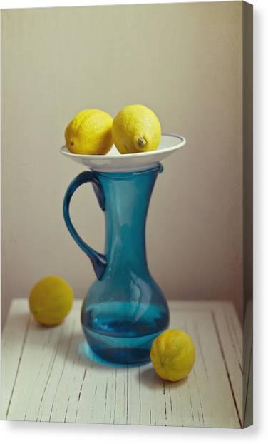 Lemons Canvas Print - Blue Pitcher With Lemons On White Plate by Copyright Anna Nemoy(Xaomena)