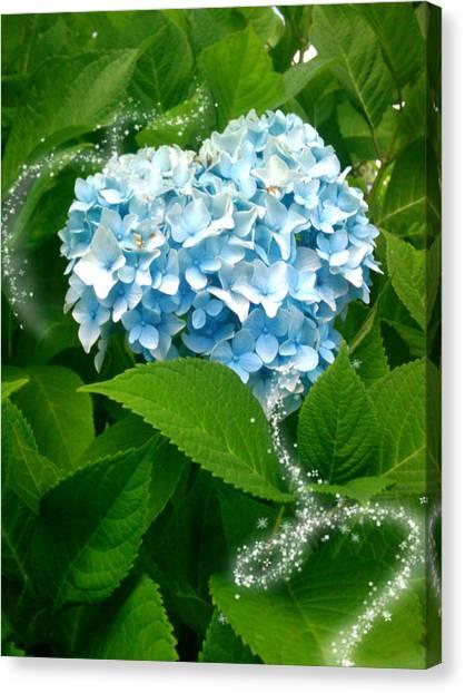 Blue Pom Flower Canvas Print by Lee Yang
