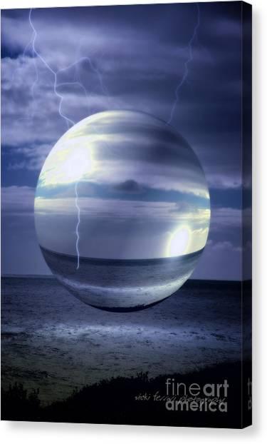 Canvas Print featuring the photograph Blue Sea Hover Bubble by Vicki Ferrari