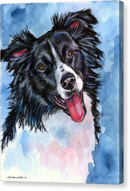 Border Collies Canvas Print - Blue Skies - Border Collie by Lyn Cook