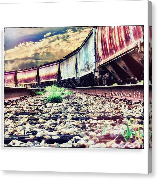 Metal Canvas Print - Blue Sky Train by Mari Posa