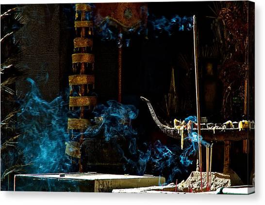 Blue Smoke Canvas Print by Arj Munoz