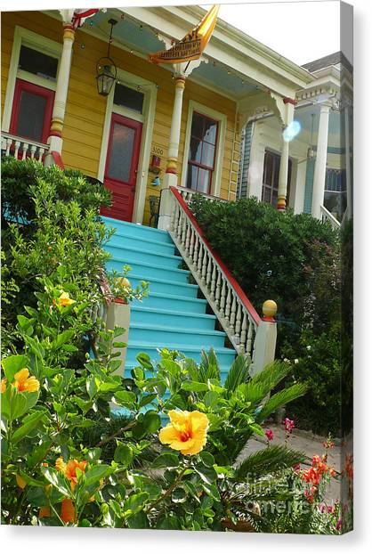 Blue Stairs Yellow House Canvas Print