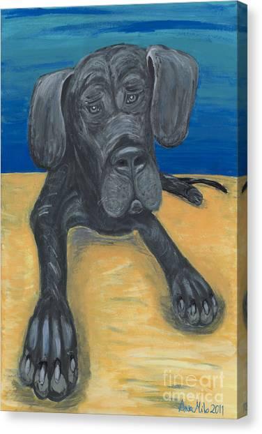 Ania Milo Canvas Print - Blue The Great Dane Pup by Ania M Milo