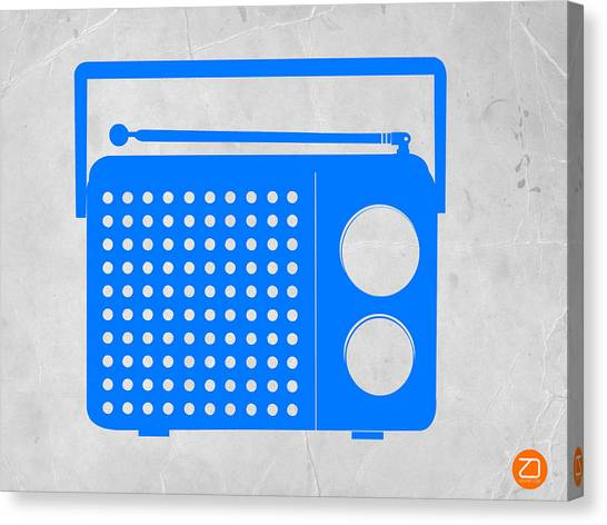 Retro Canvas Print - Blue Transistor Radio by Naxart Studio
