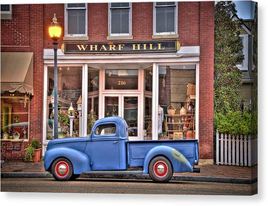 Canvas Print featuring the photograph Blue Truck On Main Street by Williams-Cairns Photography LLC