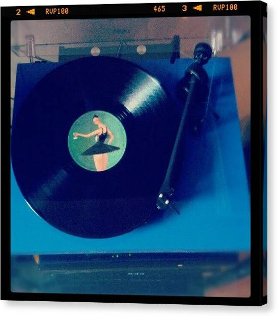 Bands Canvas Print - Blue Turntable by Molly Housel