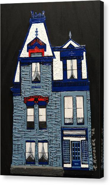 Blue Victorian Mansion Montreal Canvas Print