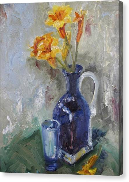Blue Yellow Floral Canvas Print