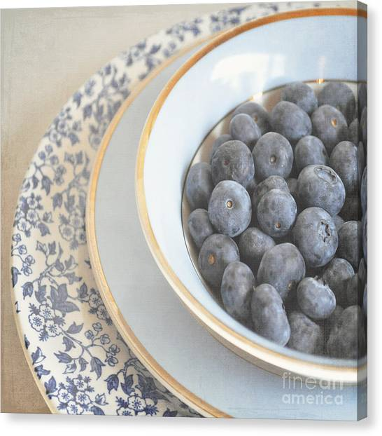 Blueberries In Blue And White China Bowl Canvas Print