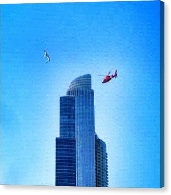 Helicopters Canvas Print - #bluesky #blue #architectureporn by James Roach