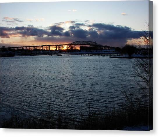 Bluewater Bridges In Winter 1 Canvas Print