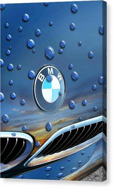 Bmw - Roundel And Raindrops Canvas Print