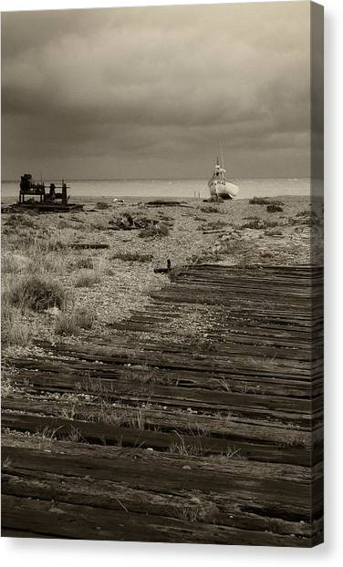 Boardwalk At Dungeness Canvas Print by David Turner