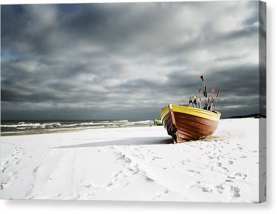 Boat On Snowy Beach Canvas Print